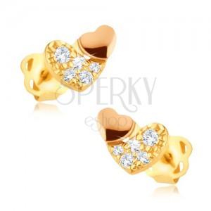 Csillogó arany fülbevaló 375 - cirkóniás szív aranyrózsaszín szívvel