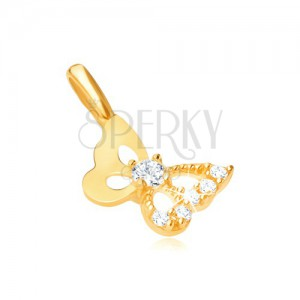 Medál 9K sárga aranyból - kivágott pillangó, cirkóniás szárny