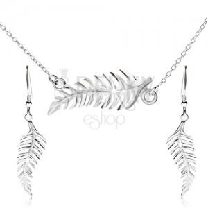 Szett nyakékből és függő fülbevalóból, páfrány, 925 ezüst