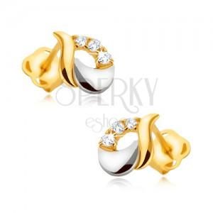 Fülbevaló 9K aranyból - fényes csepp fehér és sárga aranyból, három cirkónia