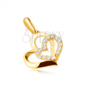 Arany medál 375 - két asszimetrikus szívkörvonal, kő