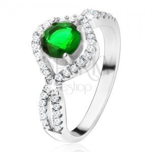925 ezüst gyűrű, kerek zöld kő, csavart cirkóniás szárak