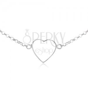 Nyakék 925 ezüstből - szabályos szívkörvonal, lánc