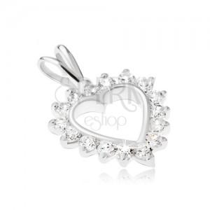 925 ezüst medál - szívkörvonal átlátszó cirkóniás szegéllyel