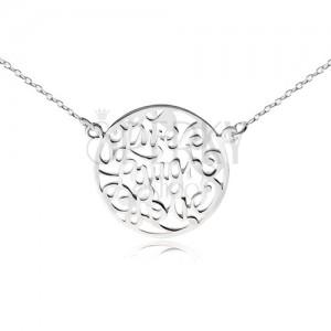 """Nyaklánc 925 ezüstből - lánc és körlap kivágásokkal, """"Live Laugh Love"""""""