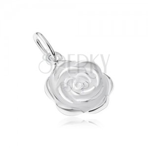 925 ezüst medál, kinyílt rózsa virág