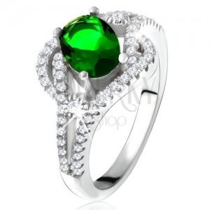 Gyűrű - 925 ezüst, lekerekített vonal, átlátszó kövek, ovális zöld cirkónia