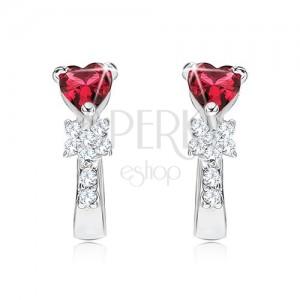 Fülbevaló 925 ezüstből, piros szívecskés kő, virág, tiszta cirkóniák