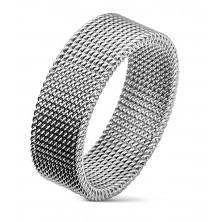 Acél gyűrű ezüst színben, szövött hálós mintával, 8 mm