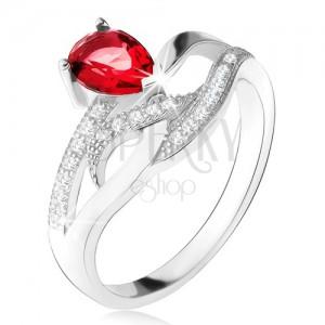 Fényes gyűrű 925 ezüstből, piros kő - könnycsepp, három cirkónia vonal