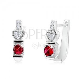 Fülbevaló 925 ezüstből, piros kerek kő, szív, átlátszó cirkóniák