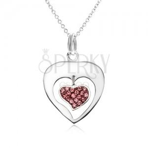 Nyakék - lánc, szív körvonal, szív, rózsaszín cirkóniák, 925 ezüst
