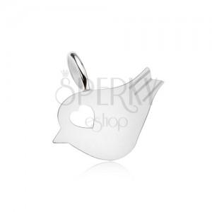 Medál 925 ezüstből, fényes, lapos madárka, szív alakú kivágás