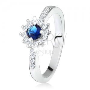 Gyűrű 925 ezüstből, kerek sötétkék kő és átlátszó cirkóniák