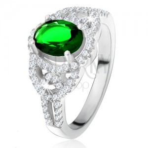 Gyűrű - ovális zöld cirkónia, lekerekített vonalak, átlátszó kövek, 925 ezüst