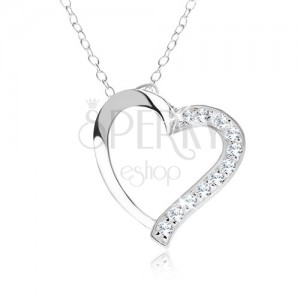 Állítható nyakék - 925 ezüst, nyaklánc, szívkörvonal, átlátszó cirkóniák