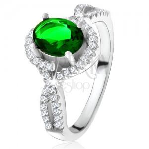 Gyűrű - 925 ezüst, lekerekített vonal, átlátszó cirkóniák, ovális zöld kő