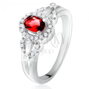 Gyűrű piros ovális kővel, apró átlátszó cirkóniák, 925 ezüst
