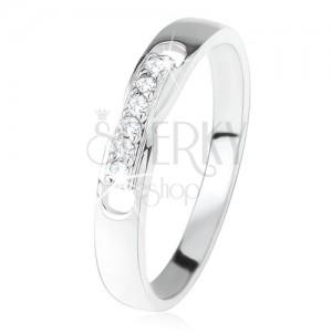 Gyűrű 925 ezüstből, dísz rész - vonal, átlátszó cirkóniákból, két bemetszés