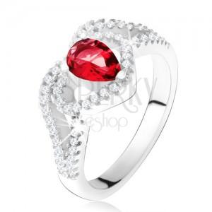 Gyűrű rubinvörös cirkóniával és tiszta szívkörvonallal, ezüst 925