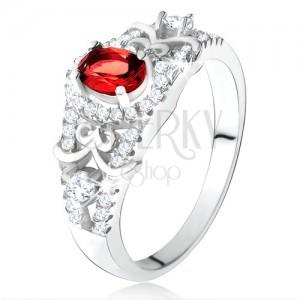 Ezüst 925 gyűrű, ovális piros cirkónia tiszta keretben, díszes vonalak