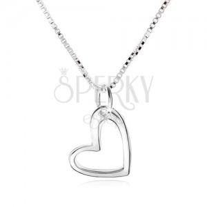 Nyakék, aszimetrikus szív kontúrral, szögletes lánc, 925 ezüst