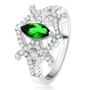 Gyűrű - magszem alakú, zöld cirkónia, ívelt vonalak, átlátszó kövek, 925 ezüst