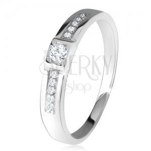 Fényes gyűrű, két egyenes vonal, átlátszó kövek, 925 ezüst
