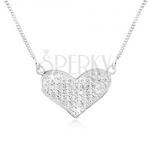 Állítható nyakék 925 ezüstből, lánc, szélesedő szív, átlátszó cirkóniák