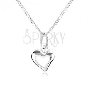 925 ezüst nyakék, aszimetrikus szív körvonalal, spirálos lánc