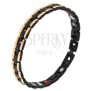 Fekete, acél karkötő, kígyó mintával, szélső aranyozott sávok, mágnesek