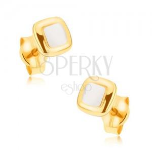 Ródiumozott fülbevaló 9K aranyból - mérsékelten kidomborodó, kétszínű négyzet
