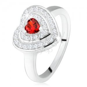 Gyűrű, piros cirkóniás szívvel, átlátszó cirkóniák - szív körvonal, 925 ezüst
