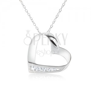 Nyakék, 925 ezüst, lánc, szív körvonal, átlátszó, cirkóniás vonal