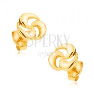 375 arany, bedugós fülbevaló - csillogó, háromágú spriál