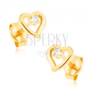 Fülbevaló 9K sárga aranyból - egyenetlen szív kontúr, cirkónia