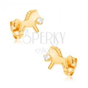 Fülbevaló 9K sárga aranyból - csillogó, vágtató ló, átlátszó cirkóniával