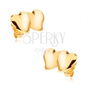 Fülbevaló 9K sárga aranyból - két egymást keresztező aszimmetrikus szív