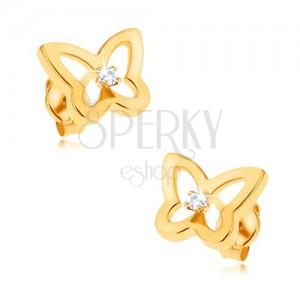 Fülbevaló 9K sárga aranyból - csillogó lepkekörvonal, cirkónia a közepében