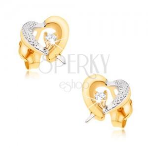 375 arany fülbevaló - sárga-fehér szív körvonal, gravírozás, cirkónia