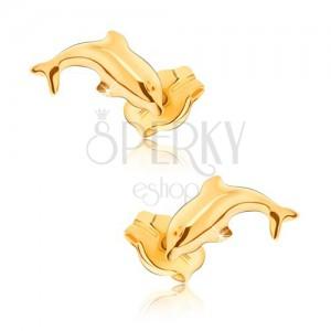 Fülbevaló 9K sárga aranyból - fényes, ugró delfin