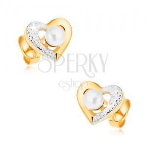 Ródiumozott fülbevaló 9K aranyból - kétszínű szív kontúr, fehér gyöngy