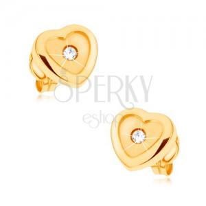 Fülbevaló, 9K sárga aranyból, fényes kontúr, matt közép, cirkónia