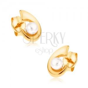 375 bedugós, arany fülbevaló - csillogó horog, díszített felülettel, gyöngy