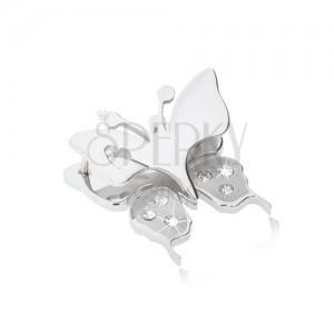 Medál sebészeti acélból - pillangó, kivágással, szívecskék a szárnyakon, átlátszó cirkóniák