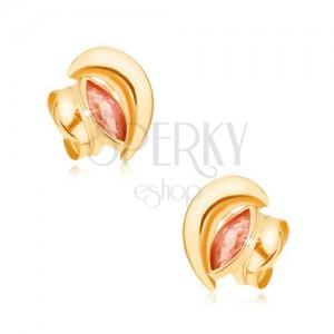 375 arany fülbevaló - csillogó félhold, piros, magszem alakú cirkónia