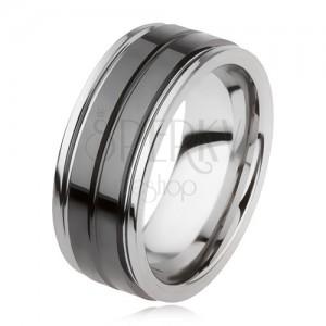 Wolfrám gyűrű, fényes, fekete felülettel és bemetszéssel, ezüst szín