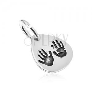 925 ezüst medál, csepp kéz lenyomattal