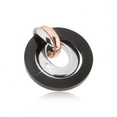 Medál acélból - ezüst, réz és fekete színben, körök, oválisok cirkóniákkal