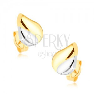 Ródiumozott, kétszínű fülbevaló, 9K aranyból - könnycsepp bemeteszéssel